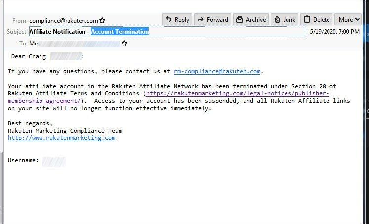 Here's the email from Rakuten / LinkShare