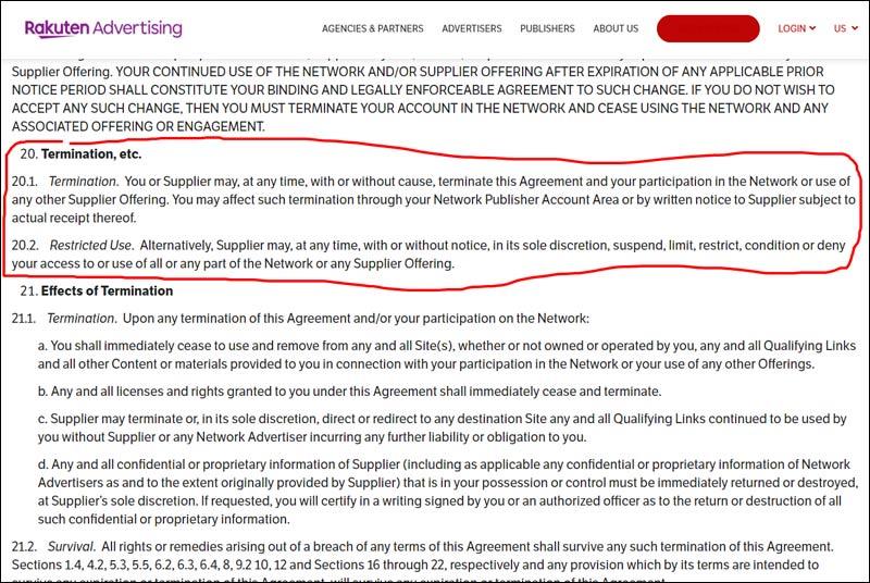 Rakuten Account Termination Notice (Their Excuse) - Rule #20