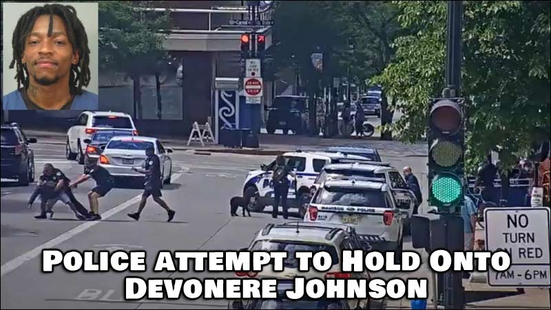 Johnson then made it past the officers and ran across the street before police tackled him to the ground.