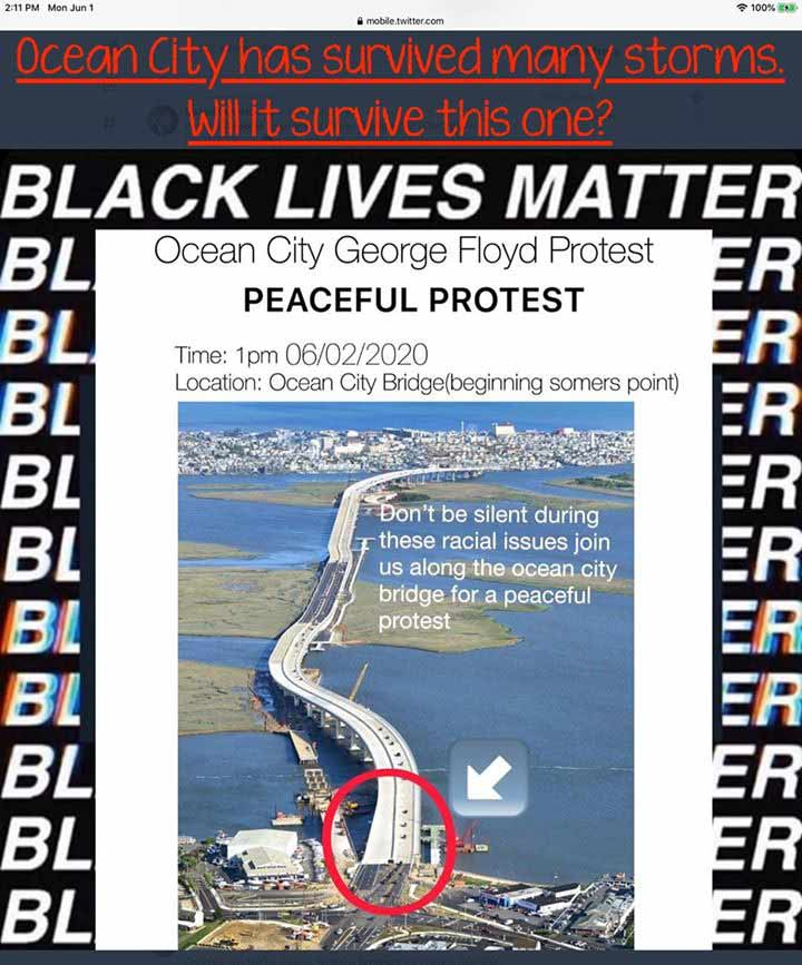 Here's copy of the 'online flyer' that was circulating. It states a peaceful protest will start in Somers Point, and cross over the bridge into Ocean City.
