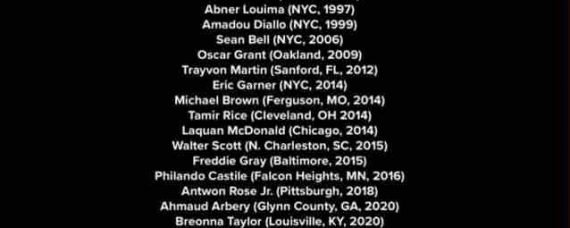 """Say Their Name"" is credited to the victims of police-related incidents, including those names shown in the photo above."