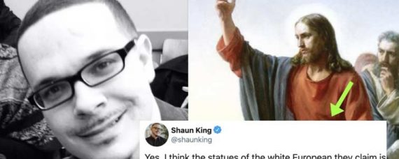 "Shaun King just recently said that all images depicting Jesus as a 'white European' should be torn down because they are a form of ""white supremacy""."