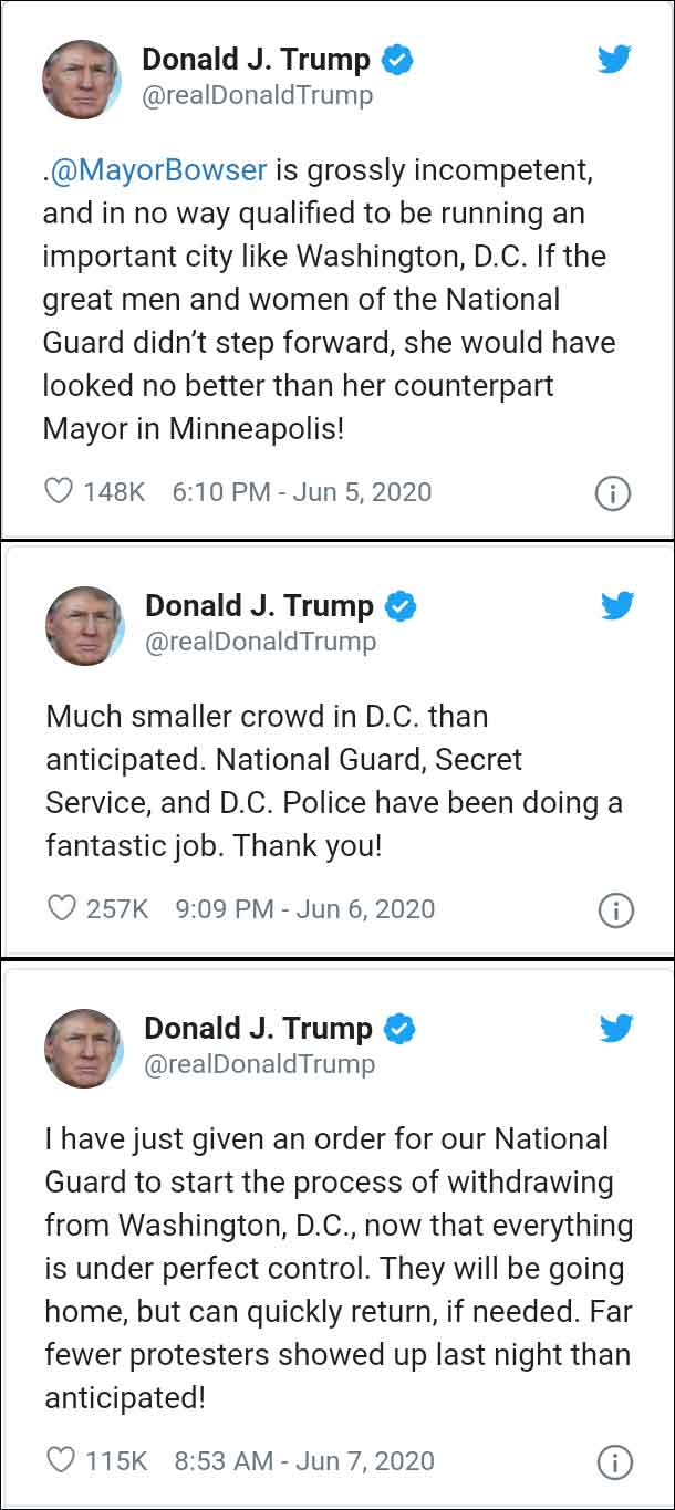Here's screenshots of the 3 Tweets that President Trump made concerning Washington DC, the mayor, and the National Guard.