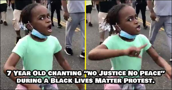 "7 year old girl marching in a BLM protest, chanting ""No Justice, No Peace."""