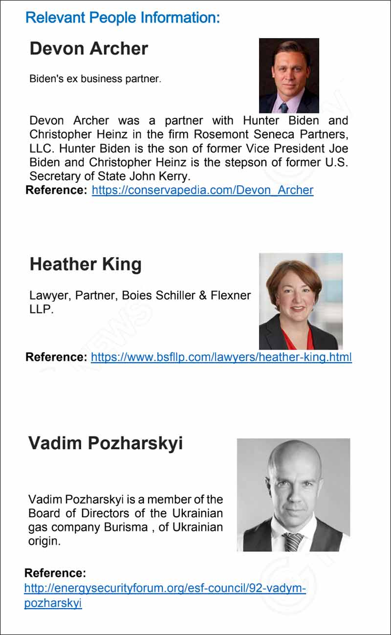 Major Players in Burisma & Hunter Biden arrangement. Other than Hunter Biden is Devon Archer, Heather King and Vadim Pozharskyi