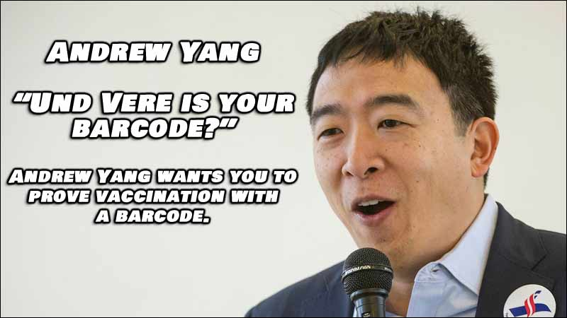 Democrat Andrew Yang Asks For Bar Codes To Show Proof of Vaccination