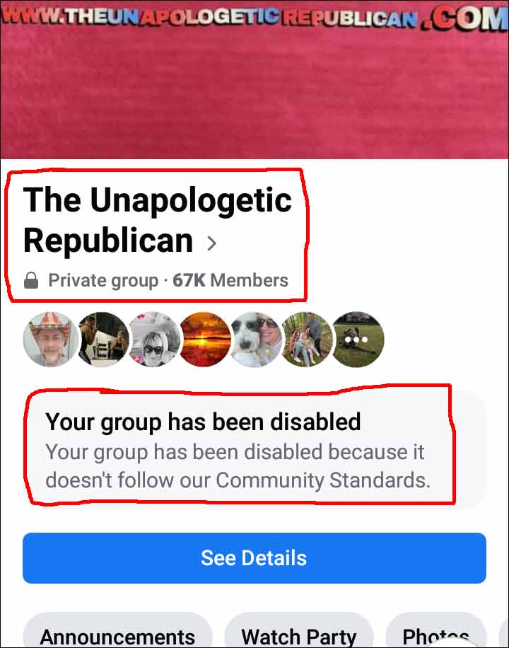 Facebook and Zuckerdick Shuts Down 67,000+ Member Conservative Group (Click for full size)