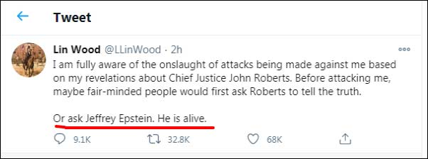 Attorney Lin Wood Says Jeffrey Epstein Still Alive (Click for full size)