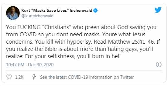 To top that all off, he lashed out at Christians by tweeting the above :