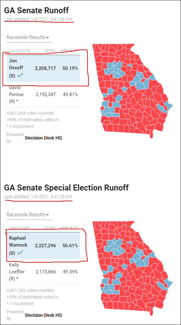 Georgia Senate Runoff Elections Final Results. Note the numbers NOW.  (Click for full size)