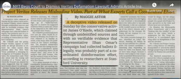 James O'Keefe Project Veritas Sues The NY Times