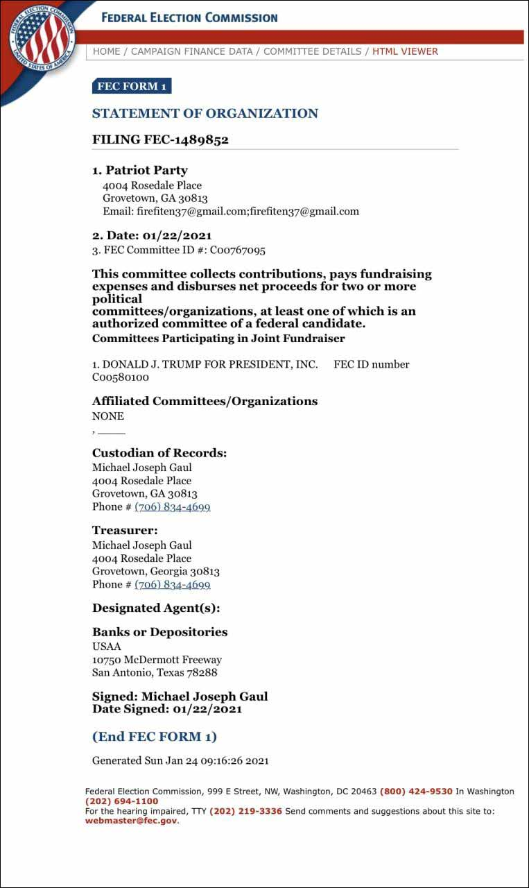 Donald Trump Starting Own Political Party, We Have Paperwork Proof (Click for full size)