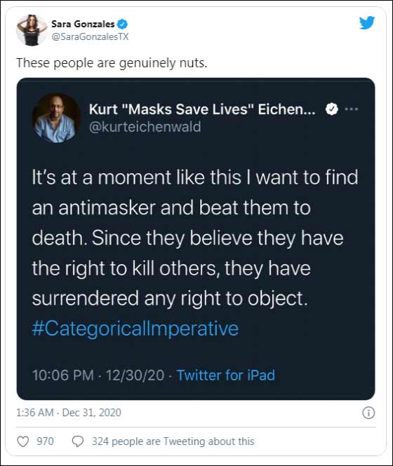 """Kurt Eichenwald Tweets """"I Want To Find An Antimasker And Beat Them To Death"""""""