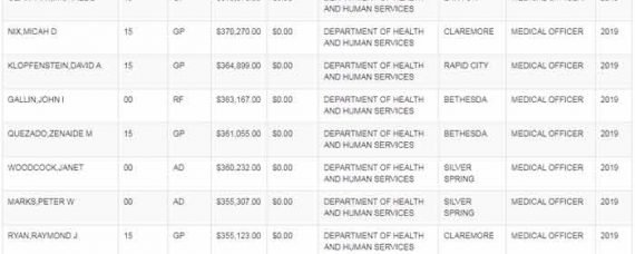 This is a screenshot of the Top 25 Federal Employee Earners of 2019. Take a look at those salaries! (Click for full size)