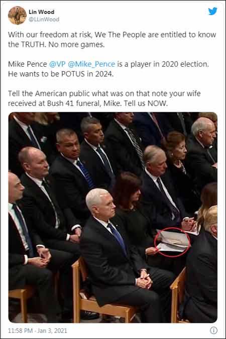 Lin Wood Tweet - Mike Pence