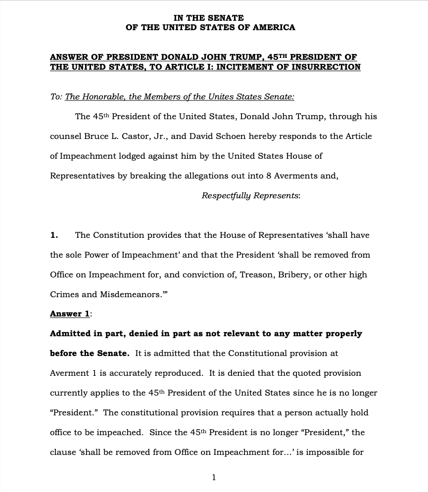 Page 1 of Donald Trump's Official Answer to Senate's Article of Impeachment