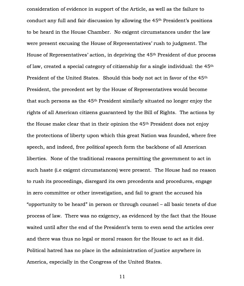 Page 11 of Donald Trump's Official Answer to Senate's Article of Impeachment