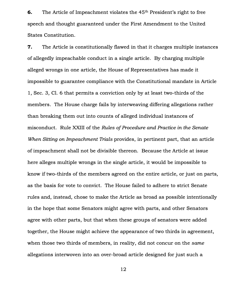 Page 12 of Donald Trump's Official Answer to Senate's Article of Impeachment