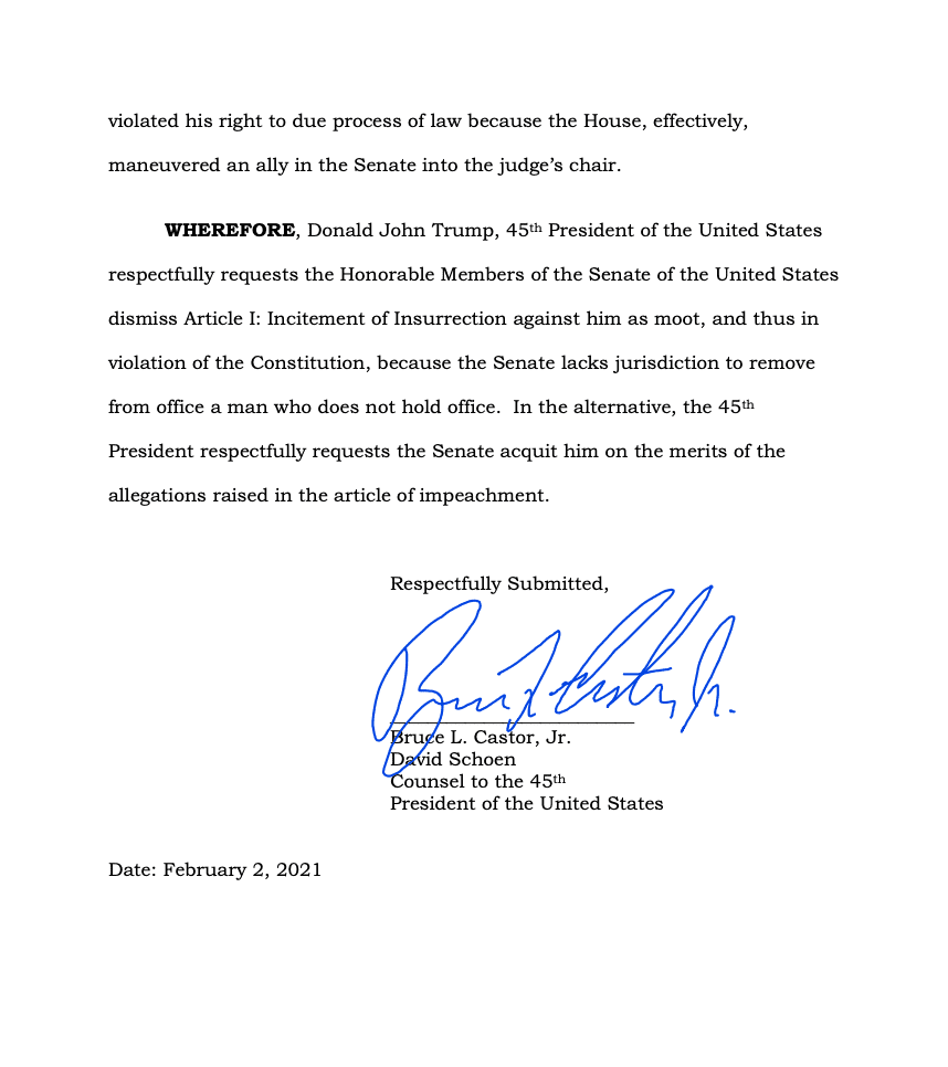 Page 14 of Donald Trump's Official Answer to Senate's Article of Impeachment
