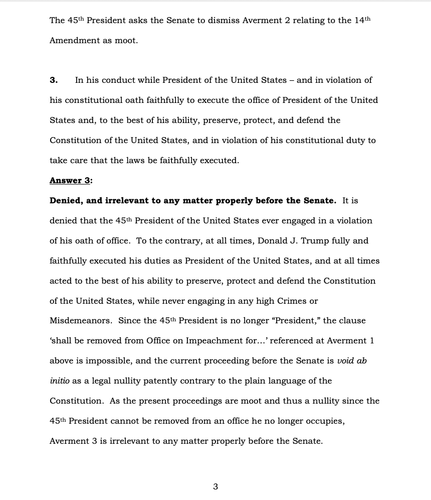Page 3 of Donald Trump's Official Answer to Senate's Article of Impeachment