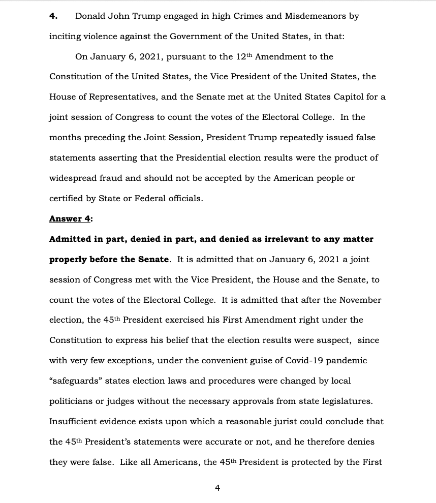 Page 4 of Donald Trump's Official Answer to Senate's Article of Impeachment