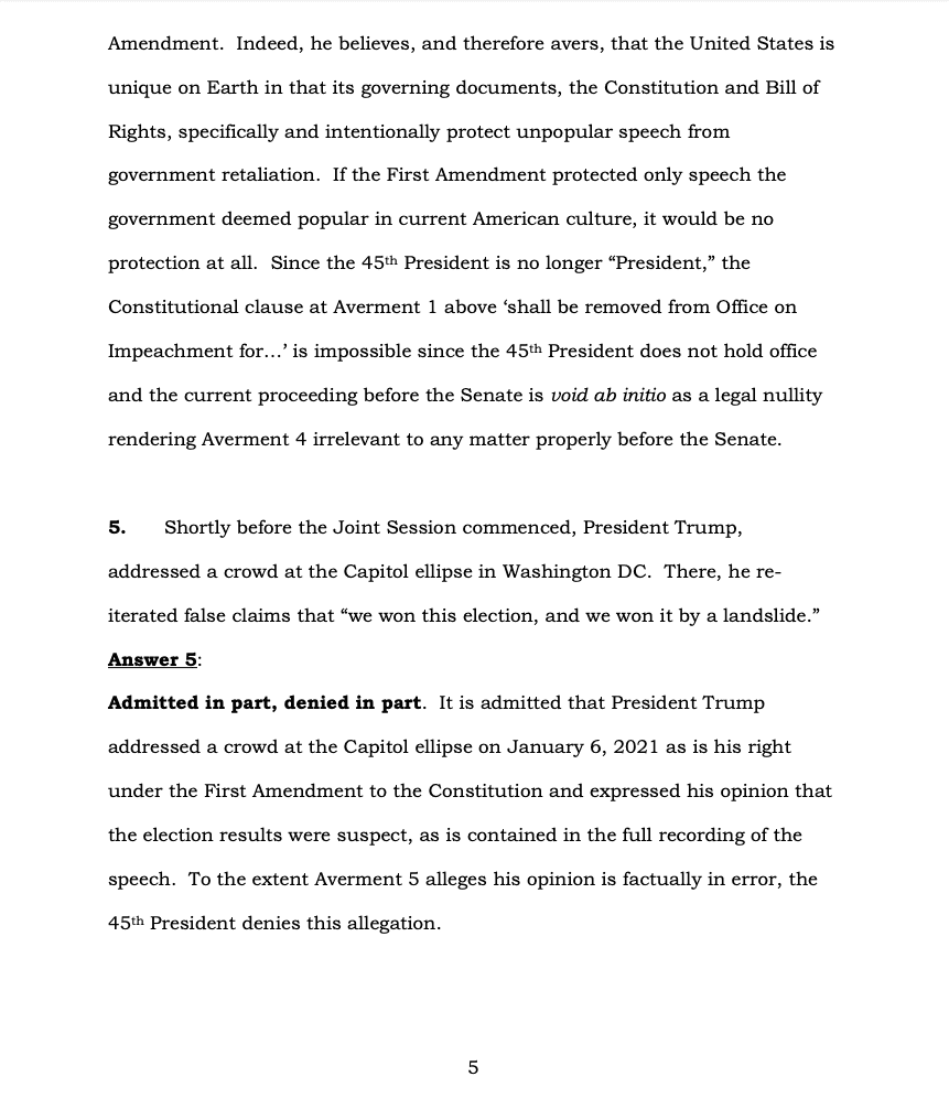 Page 5 of Donald Trump's Official Answer to Senate's Article of Impeachment