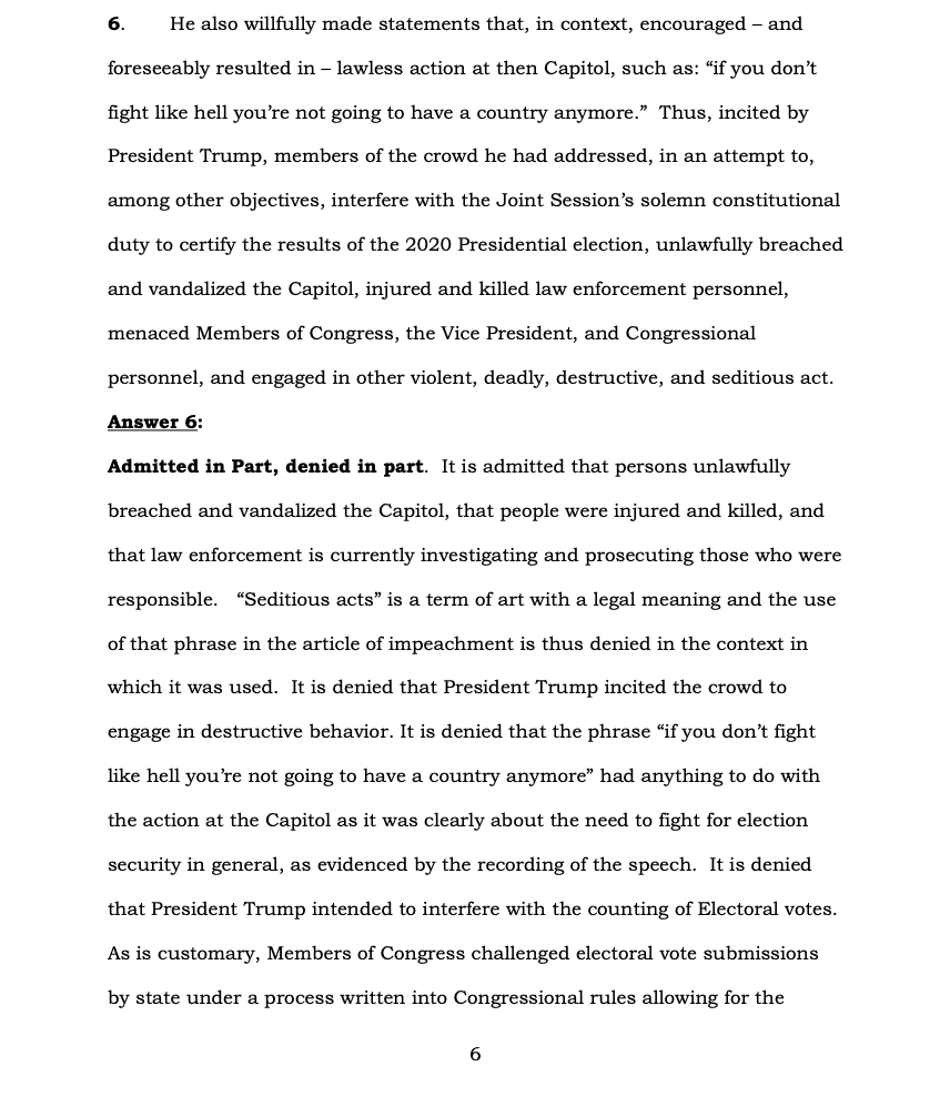 Page 6 of Donald Trump's Official Answer to Senate's Article of Impeachment