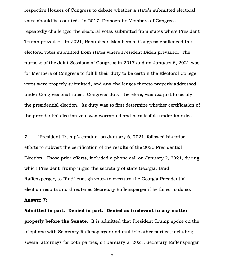 Page 7 of Donald Trump's Official Answer to Senate's Article of Impeachment