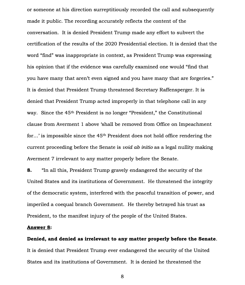 Page 8 of Donald Trump's Official Answer to Senate's Article of Impeachment