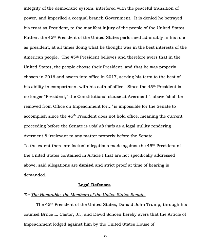 Page 9 of Donald Trump's Official Answer to Senate's Article of Impeachment