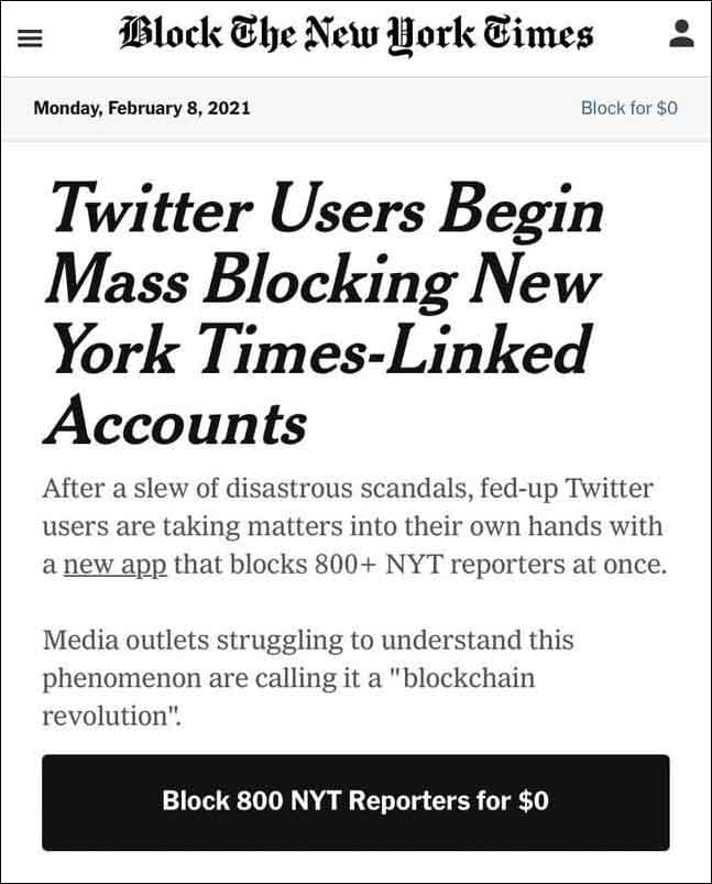 Here's a start to stopping disinformation. This New App Blocks 800+ NY Times Reporters Twitter Accounts!