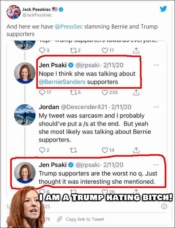Old Tweets Prove Jen Psaki As A Trump Hating B*TCH (Click for full size)