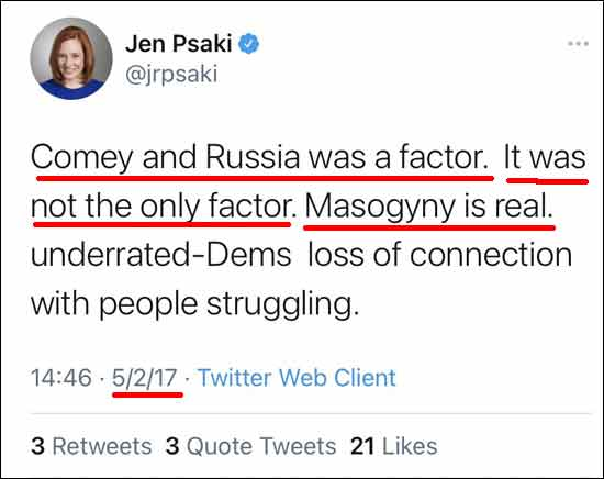 Here Jen Psaki mentions James Comey and Russia, both lies!