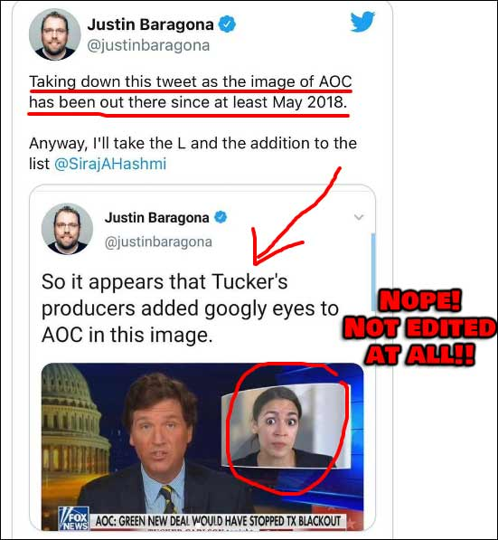 Writer Accuses Tucker Carlson of Adding Googly Eyes to AOC Picture, There's just one problem