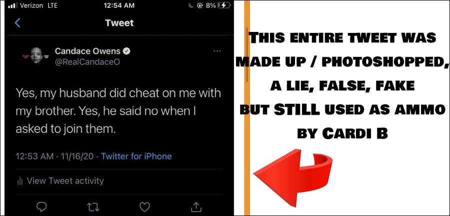 Cardi B Posts Fake Tweet From Candace Owens, Now Getting Sued